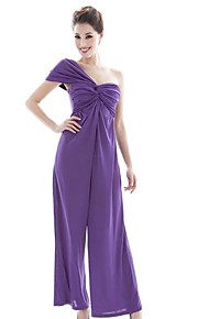 Women's Solid Purple Jumpsuits , Vintage/Sexy/Casual/Work/Beach/Party/Cute One Shoulder Sleeveless Ruched/Backless