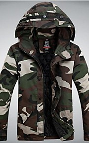 Men's Hoodie Cotton-Padded Coat (Hood With String,Camouflage Design Random)