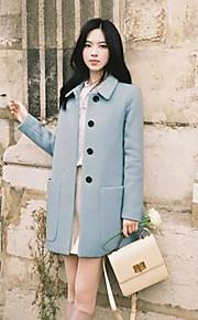 Women's Sweet Plain Big Pocket Long Trench Coat