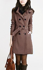 Women's Double-breasted Lapel Slim Woolen Trench Coat (More Colors)