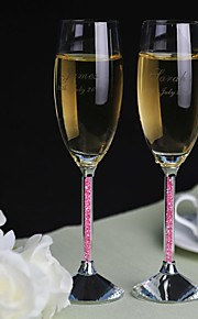 Personalized Toasting Flutes Pink Diamond Shank - Set of 2
