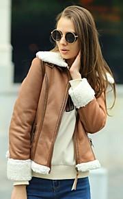 Veri Gude® Women's Fur Collar Motorcycle Jacket Slim Fit Warm Suede Coat