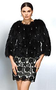 manteau de fourrure à manches longues col fourrure de raton laveur partie / veste décontractée (plus de couleurs)
