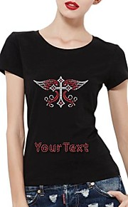 Personalized Rhinestone T-shirts Cross with Wings Pattern Women's Cotton Short Sleeves