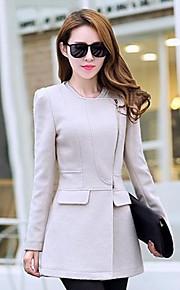 Women 's   European   Solid Color Wool Blends Plus Sizes Long Coat