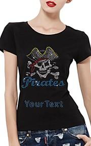 personlig rhinestone t-tröjor piratskallemönster kvinnors bomull korta ärmar
