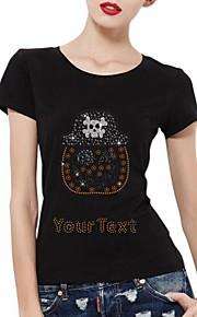 gepersonaliseerde strass t-shirts Halloween pompoen schedel patroon katoen vrouwen korte mouwen
