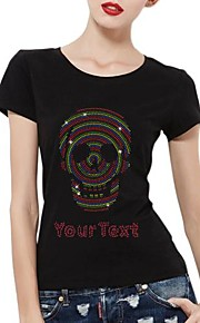 Personalized Rhinestone T-shirts Multi Color Skull Pattern Women's Cotton Short Sleeves