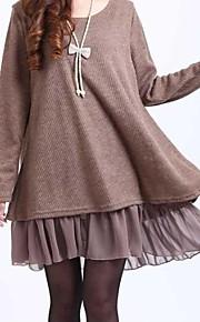 Ample Robe Femme Grandes Tailles Décontracté / Quotidien simple,Couleur Pleine Col Arrondi Mini Manches Longues Bleu Noir Marron Jaune