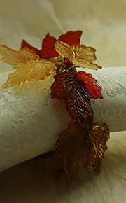 упал лист салфетки кольца Рождество, акрил, 1.77inch, набор 12