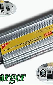 meind® inverter 1000W med oplader 12V DC til 220V konverter bil invertere strømforsyning m1000cd