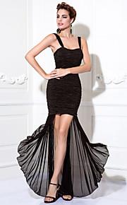 Homecoming Cocktail Party/Prom Dress Plus Sizes Sheath/Column Straps Tea-length Chiffon/Stretch Satin