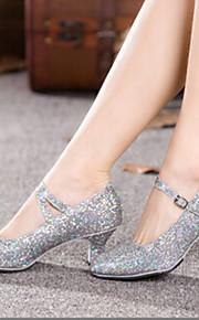 Chaussures de danse (Argent) - Non personnalisable - Gros talon - Similicuir - Salle de bal/Moderne