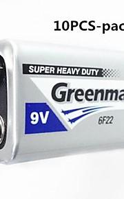10st GREENMAX 9v zink -manganese koolstof batterij