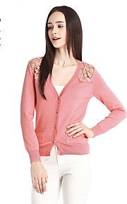 Women's Pink/Black Cardigan , Sexy/Casual/Lace Long Sleeve
