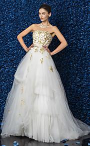 Lanting une ligne / princesse tailles plus robe de mariée - parole longueur ivoire bustier en satin / tulle / dentelle