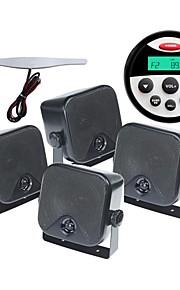 Waterproof Marine Radio Stereo ATV UTV Audio Receiver+ Surface Mount 3.5 Inch Black Waterproof Speakers+Radio Antenna