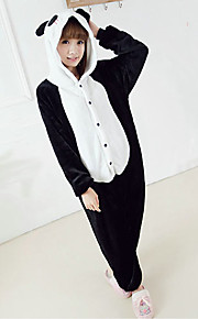 Plump Panada Black and White Polar Fleece Kigurumi pyjamas Cartoon Sleepwear Animal Halloween Costume