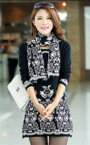 Women's Korean Lace Pattern Jacquard Vintage Fit Bottoming Knitwear Dress