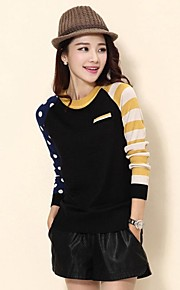Women's Black/Green/Yellow Pullover , Casual/Cute Long Sleeve