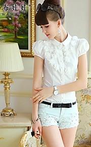 Women's Blue/White Shirt , Casual/Work Short Sleeve
