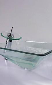 praça dissipador da embarcação vidro temperado transparente com torneira em cascata, pop - up de drenagem e anel de montagem