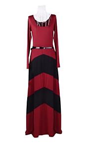 kvinders sexet kontrast farve geometriske striber lang ærmet lang kjole