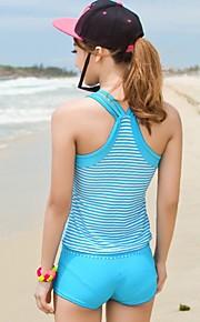 Women's Sporty Striped Boxer Split Two-Piece Swimsuit