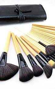 24-delige professionele make-upkwastenset met houten Burlywood handvat, met blush/foundation/poeder/concealer/oogschaduw/eyeliner/lip