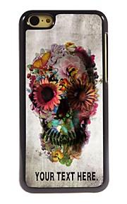 personalisierte Fall Schädel und Blumen-Design Metallkasten für iphone 5c