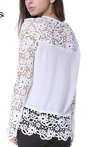 Women's Fashion Lace Crochet Chiffon T Shirt Long Sleeve Floral Tops Blouses