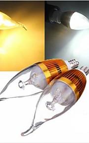 1 stk. E14 3 W 3 Høyeffekts-LED 300 LM Varm hvit/Naturlig hvit A Dekorativ Lysestakepære AC 220-240 V