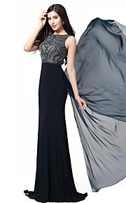 Formeller Abend Kleid - Dunkelmarine Chiffon/Elasthan/Strickware - Meerjungfrau-Linie / Mermaid-Stil - bodenlang - Juwel-Ausschnitt