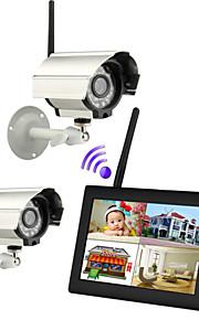 """nye trådløse 4-kanals quad dvr 2 kameraer med 7 """"TFT-LCD-skærm hjem sikringssystem"""