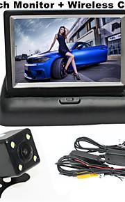 renepai® 4,3 inch vouwen monitor + draadloze 170 ° hd auto achteruitrijcamera + groothoek waterdichte camera