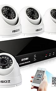 zosi® 4 kanaals h.264 hdmi realtime 960H dvr 800tvl dag nacht outdoor dome cctv-camera beveiligingssysteem