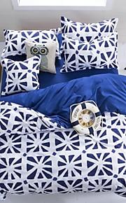 mingjie® 남자와 여자 침대 시트 중국 도미니카 미터 단어 모양 파란색 여왕과 트윈 사이즈 샌딩 침구 세트 4 개