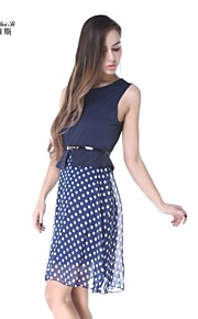 NUO WEI SI ®  Women's Sleeveless Slim Round Collar Polka Dots Dresses