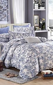 azul conjunto de cama floral de 4pcs rainha / twin