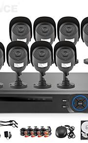 sannce® 8-kanals ahd-l DVR m / ecloud HDMI 1080p / vga / BNC udgang 8pcs 800tvl CMOS 42leds dag / nat ir-cut kameraer IP66 (1TB hdd)
