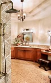 8 pouces en laiton antique mur douche réglé avec la tête de douche et douchette