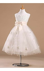 Prinsessa Satiini/Tylli Flower Girl Dress - Hihaton - Polvipituinen