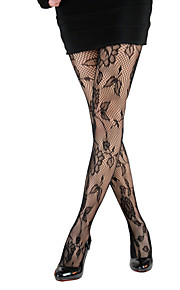 Women's Mesh Sunflower Patterned Pantyhose Black