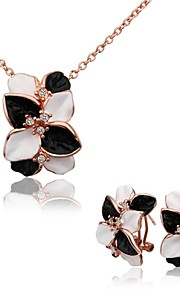 Fashion Flower Shape Tin Alloy Rose Gold Plated Zircon Jewelry Sets For Women's(Rose Gold)(1Set)