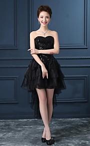 Cocktail Party Kleid - Schwarz Organza/Satin - Princess-Stil - asymmetrisch - trägerloser Ausschnitt