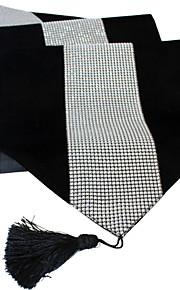 """Diamante шипованных современный 13 """"х 72"""" (33см х 182см) глубокий черный ягоды столовое серебро бегун с кисточкой"""
