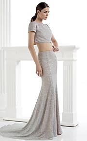возвращение т.с. кутюр официальное вечернее платье - серебряный оболочка / колонки совок суд поезд блестками