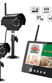 bebé Ennio 9 pulgadas 2.4G dos cámaras de vídeo de audio supervisa el sistema de seguridad dvr quad de 4 canales con ir luz de noche