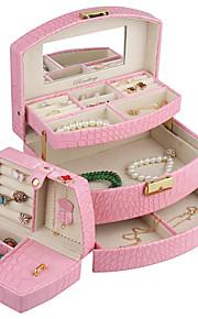 similicuir moderne boîte à bijoux vitrine pour les bagues bracelets collier avec auto tiroir ouvert