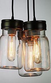 Bottle Design Pendant, 3 Light with Transparent Shade